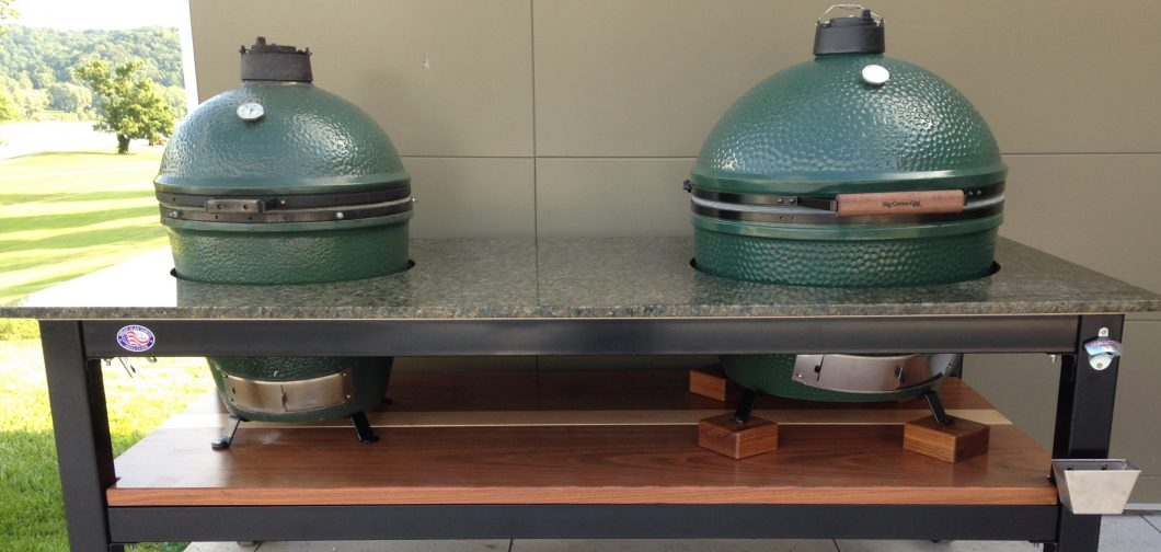 This Custom Brian Alan Table Was Built To Accommodate Large And Extra Large  Big Green Eggs. Custom Options Include A Floreste Verde Granite Top On A  Black ...