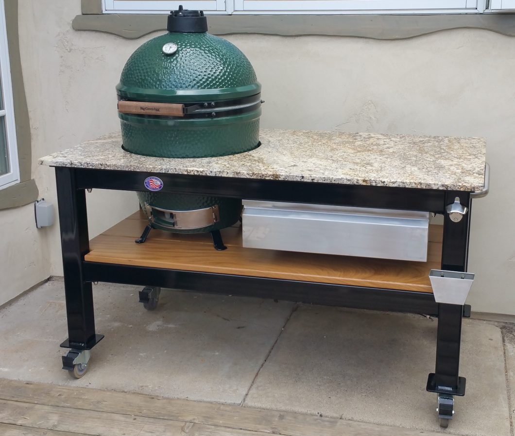 This Custom Brian Alan Table Was Built To Accommodate A Large BGE. Custom  Options Include A Carolina Summer Granite Top On A Black Powder Coated  Frame And ...